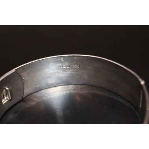 48 - Charles Horner Silver Hinged Bangle/Cuff, Engine Turned Decoration, 16mm Width, 60mm Diameter, Fully...