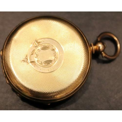 54 - 18ct Gold Pocket Watch, Case Stamped Inside Warranted 18 Carat Fine, Engine Turned Back With Central...