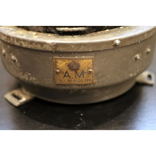 283 - Old Nautical Compass, Brass Plate To Side Stamped A.M With Crown Above, REF No 6A/0.726...