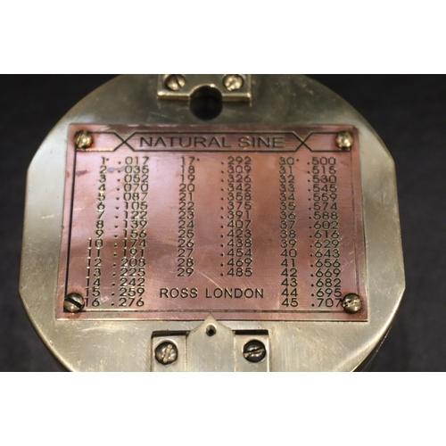 285 - Brass Cased Compass Ross London Natural Sine...