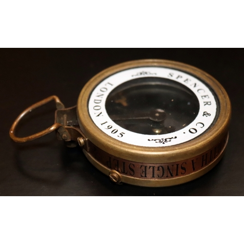 286 - Spencer & Co Brass Compass In Wooden Box 'Captain Cabin Map Reader Compass With Magnifying Glass' Br...
