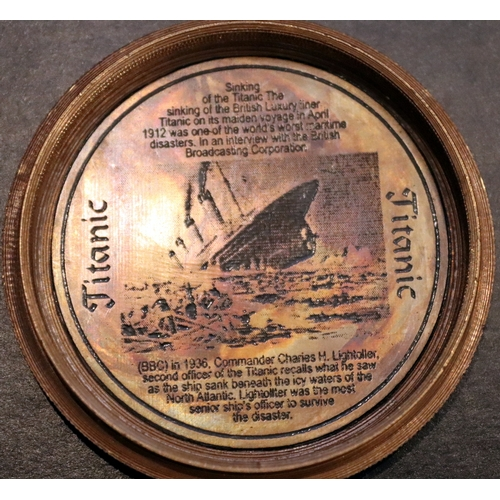 287 - Brass Cased Compass, Top And Inside Lid Engraved With Titanic Picture And Information...