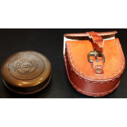 298 - Stanley London Brass Cased Pocket Compass 1885 In Leather Case...