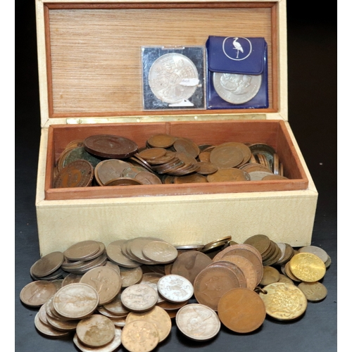 302 - Box Containing A Quantity Of British Coins, Mostly Copper...