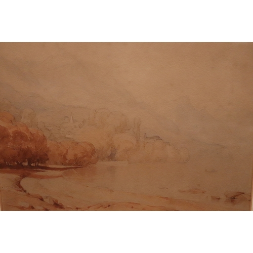 442 - Anthony Vandyke Copley Fielding. Attrib; Watercolour On Paper, Coastal Landscape. Later Framed And G...