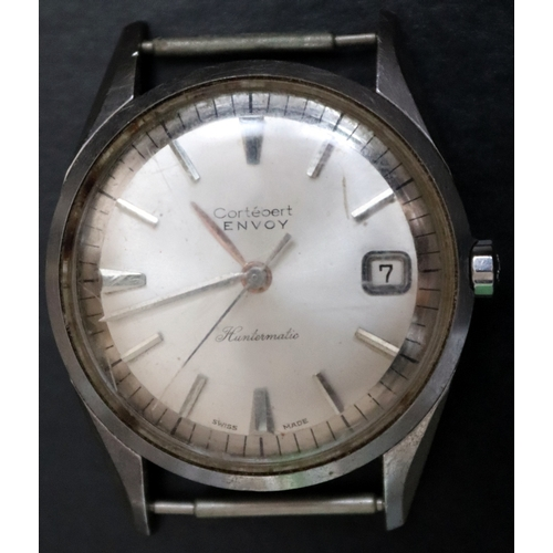 106 - Cortebert Envoy Huntermatic Automatic Wrist Watch, Stainless Steel case, Silvered Dial Baton Hour Ma...