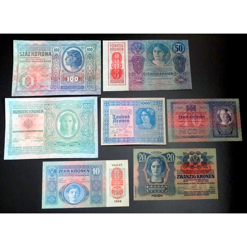 351 - Austro-Hungarian Bank Notes ( 7 ) Notes In Total. 1/ Osztrak Magyar Bank 100 Kronen Bank Note, Date ...