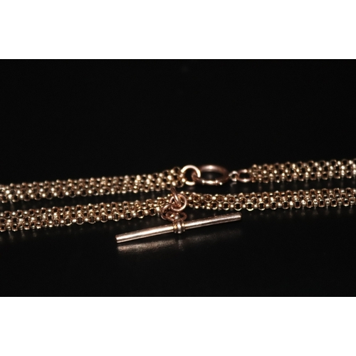 89 - 3 Strand Gold Coloured Necklace, Unmarked With Rose Gold T Bar Stamped 9ct ACC, Total Weight 22.3g...