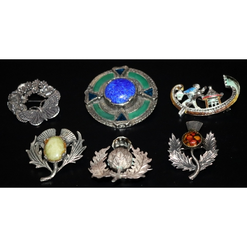 210 - Collection Of 6 White Metal Brooches, 4 Set With Coloured Stones, 1 Enamelled....