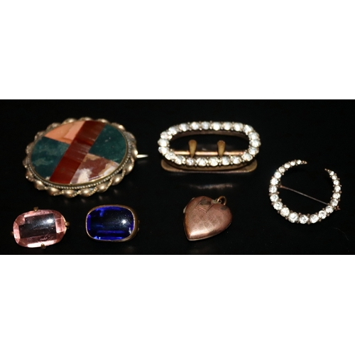 236 - Small Lot Of Antique Jewellery, Comprising Hardstone Brooch, Shoe Buckle, Heart Shaped 9ct Back & Fr...