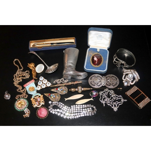 251 - Collection Of Costume Jewellery, To Include Marcasite Set Necklace, Brooches, Enamelled Buffalo Meda...