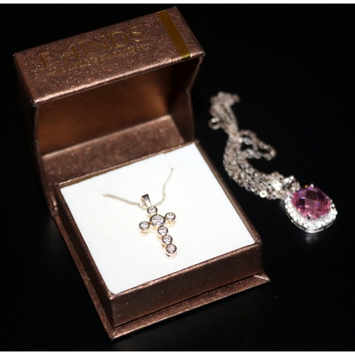 255 - Silver Stone Set Cross On Silver Chain In Original Box Together With A Pink Faceted Stone Pendant On...
