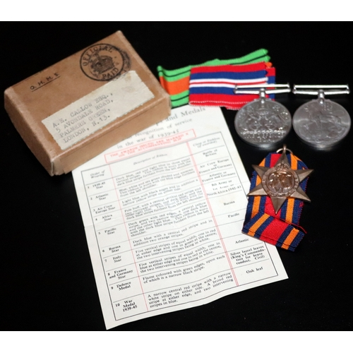 445 - WW2 Interest, Trio Of WW2 Medals Together With Addressed Box And Paperwork...