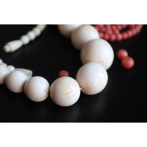 188 - Early 20thC Ivory Graduating Bead Necklace, Diameter Ranging From 18mm to 5mm, Length 21 Inches. Tog...