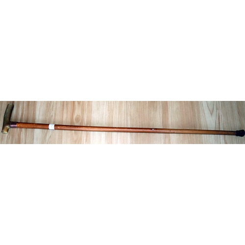 273 - 1920's Malacca Walking Cane, Horn Handle, Fully Hallmarked 9ct Gold Ferrule With Engraved Presentati...
