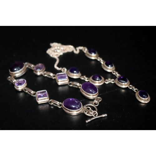 279 - Silver And Amethyst Stone Necklace And Bracelet...