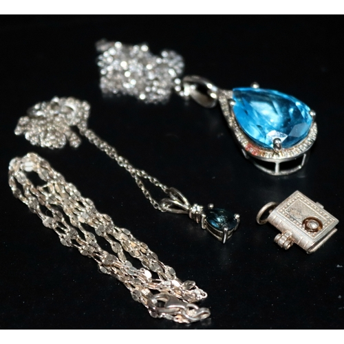 313 - 3 Silver Necklaces, 2 With Stone Set Pendants Together With An Opening Book With Bookworm Charm...