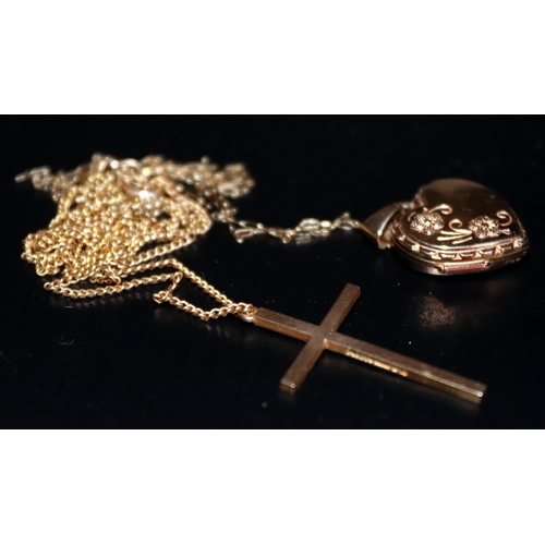 317 - 9ct Gold Heart Locket And 9ct Gold Cross Both Suspended On 9ct Gold Chains, Combined Weight 4.3g...