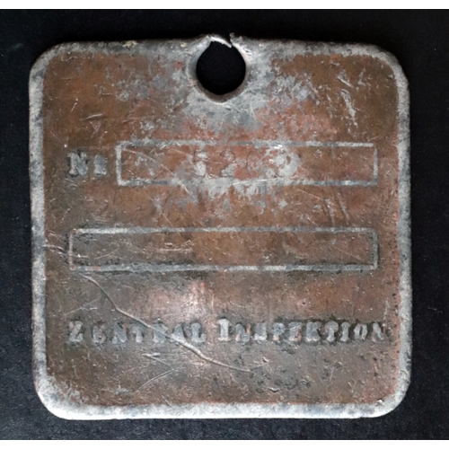 419 - Old SS dog tag? Embossed GEREIME STAATSPOLIZEI on front with a lightly engraved number on the back...
