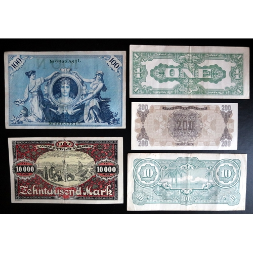 423 - A Collection of Bank Notes comprising Germany 1908 and 1923, Greece 1944 and Japan WW2...