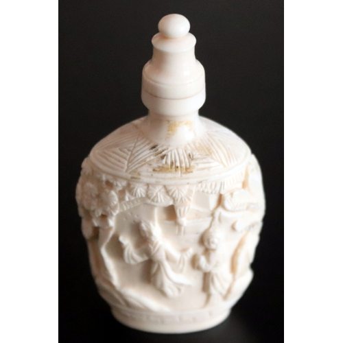 357 - Early 20thC Oriental Carved Ivory Snuff Bottle Depicting Figures And Foliage Throughout, Height 77mm...
