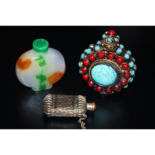 366 - Collection Of 3 Scent/Snuff Bottles, Largest 79mm Red And Turquoise Coloured Cabochons, One Brass An...