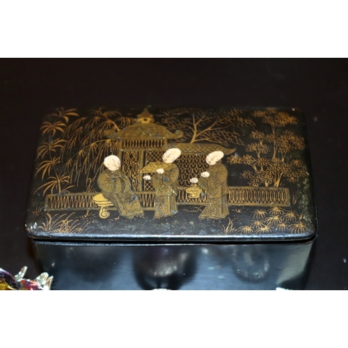 369 - Black Papier-mâché Box, Hand Painted Oriental Gentlemen In Garden To Lid Containing A Quantity Of Co...