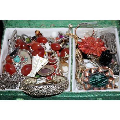 373 - Green Cloth Bound Box Containing A Quantity Of Jewellery, Includes Silver, Amber Coloured Beads, Ear...