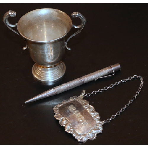 377 - Small Mixed Silver Lot Comprising A Baker's Perm-Point Silver Propelling Pencil, Pat. 145359 Fully H...