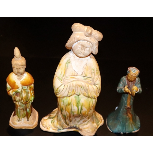 501 - Three Chinese Pottery Antique Tomb Figures, All Glazed, Tang Dynasty (617-907) Or Later, Tallest 12....