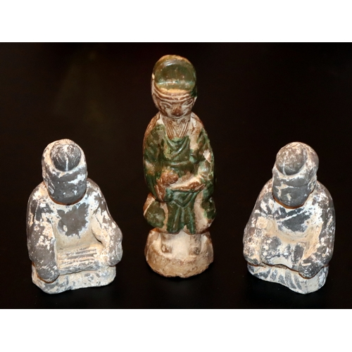 502 - Three Antique Chinese Tomb Figures,  Han Dynasty, Tallest 6.5 Inches, Two representing female musici...