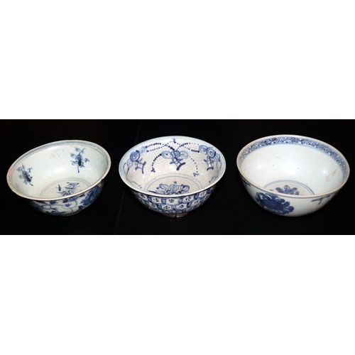 511 - Collection Of Three Antique Chinese Ming Style Footed Bowls, All With Blue And White Floral Decorati...