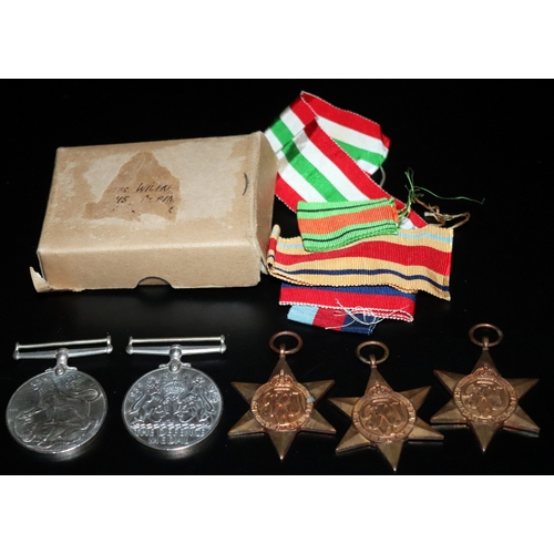 517 - WW2 Interest, Group Of Five WW2 Medals, To Include 1939-45 Star, Italy Star, Africa Star, Defence & ...