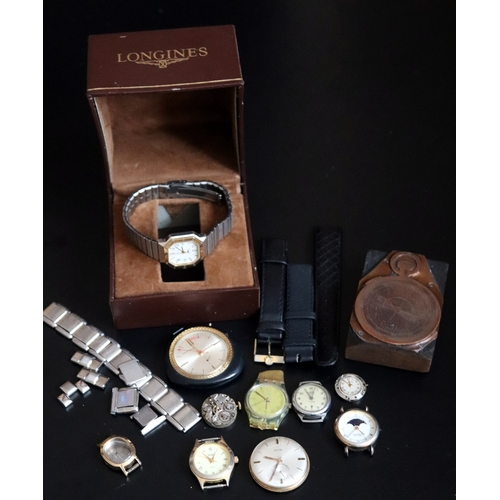 307 - Small Mixed Watch Lot To Include A Pocket Watch Stamp On Wood Block, Longines Ladies Quartz Watch Wi...