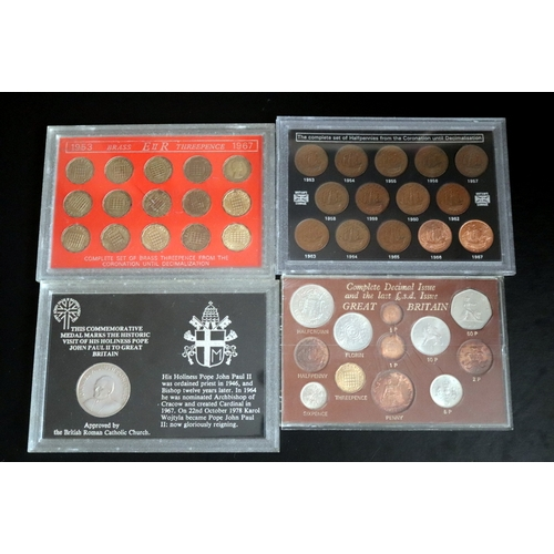 471 - 4 Proof Coin Sets In Perspex Comprising Complete Decimal Issue And The Last £.s.d Issue Great Britai...