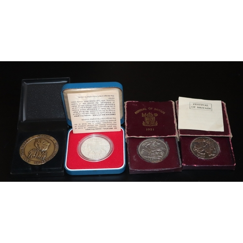 475 - 4 Boxed Coins/Medals Comprising Royal Mint silver Proof 1977 Crown, 2 Festival Of Britain 1951 Crown...