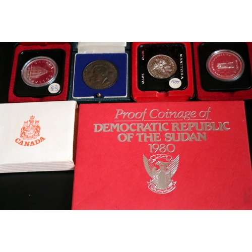 477 - Collection Of Boxed Coin Sets Comprising Proof Coinage Of Democratic Republic Of The Sudan 1980, Can...