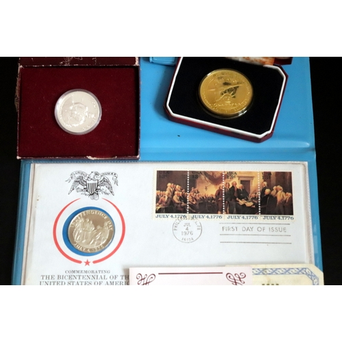 495 - 3 Boxed American Commemorative Coins Comprising Gold On Sterling Silver Pobjoy Mint Ltd Edition (250...