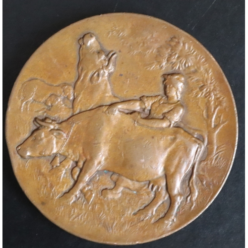 497 - French Bronze Agricultural Medal, Obverse Depicting Farmer And Cattle signed Albert E? Reverse Shows...