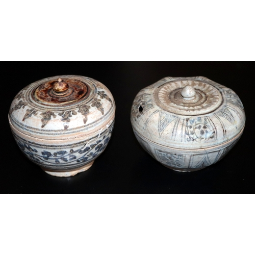504 - Sawankhalok Ware, 16thC Thailand, Box And Cover With Vine Motif Decoration. Together With 1 Other, B...