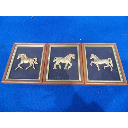 41 - 3 x small framed pictures of gold horses...
