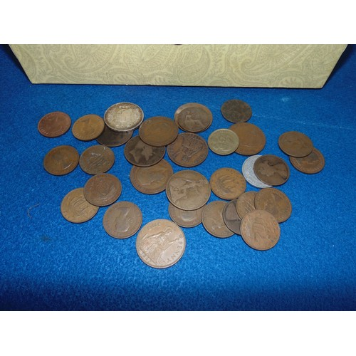 60 - Selection of old coins in box...
