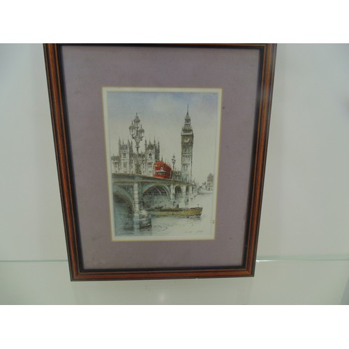 1 - Framed london 1999 ink & water colour signed 11