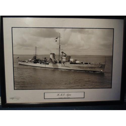 60 - Framed photograph of H.M.S Ajax...