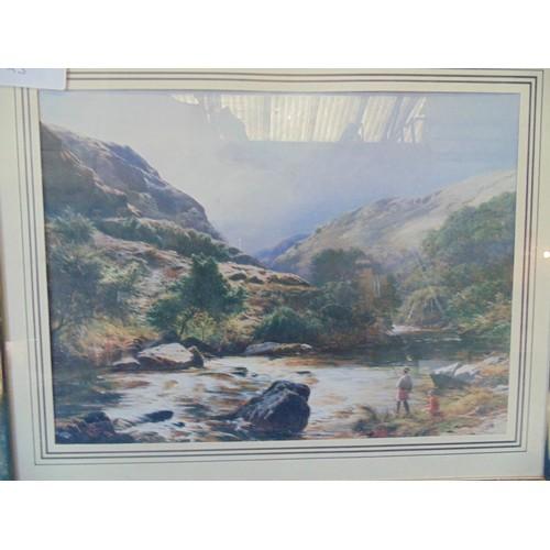 90 - Framed print of fishing landscape scene....