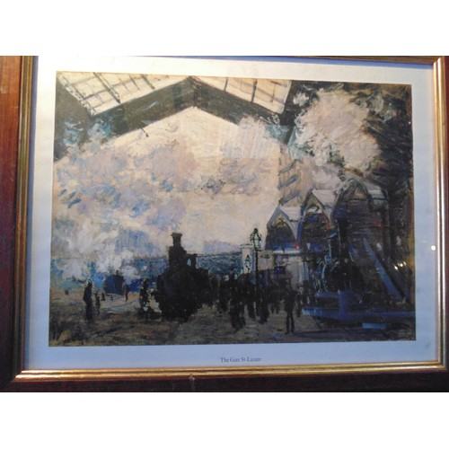 96 - Framed print of The Gare St-Lazare by claude monet....