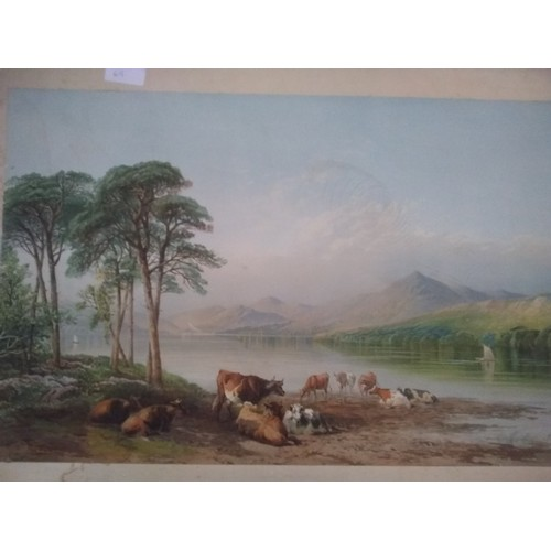 114 - Print of landscape and animals....