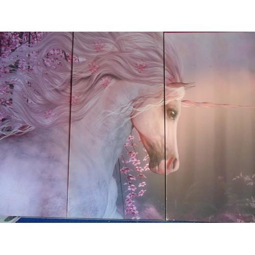 125 - Three canvas prints of unicorn....