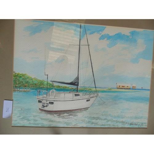 129 - Framed original watercolour boat sceane....