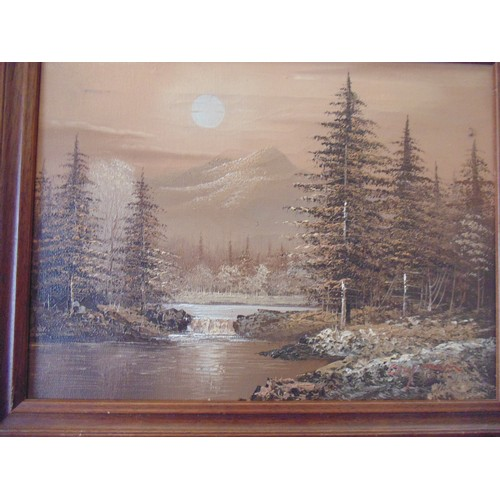 137 - Acrylic on canvas board of landscape framed....